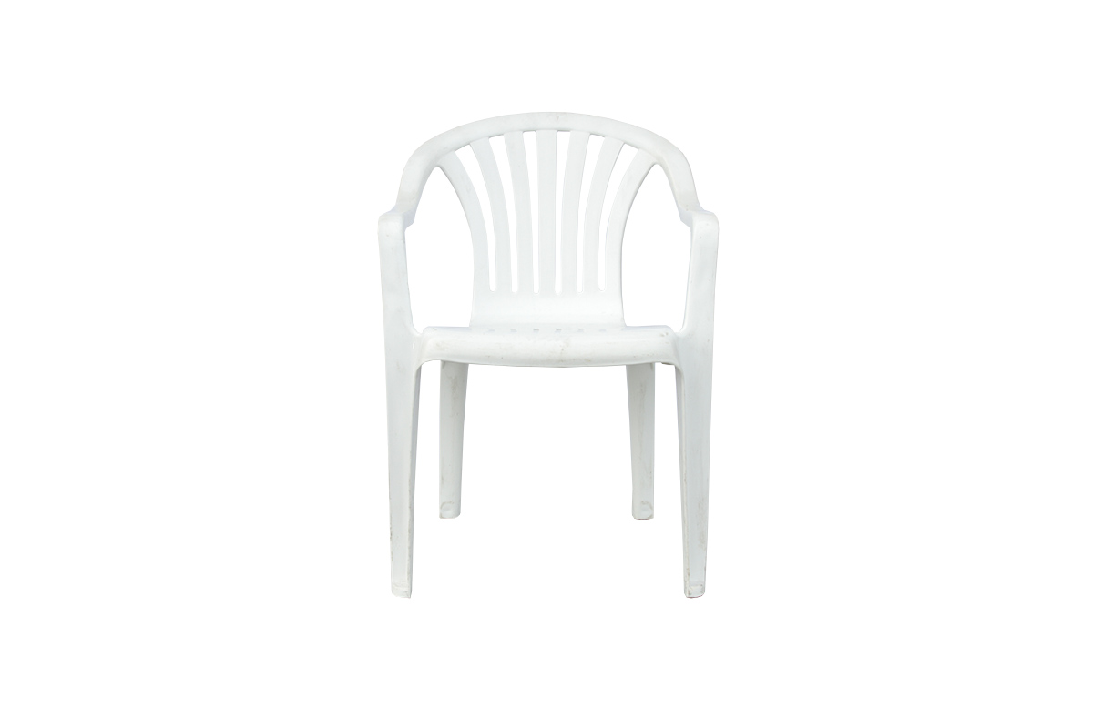 white stacking patio chair