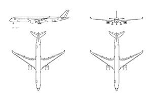 hight resolution of autocad 3 view aircraft drawings