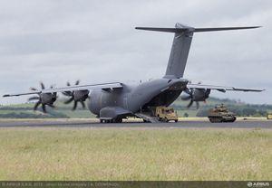 La exposición estática también contará con la presencia de un avión de transporte militar A400M con los colores de las fuerzas aéreas francesas.