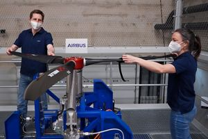 Airbus engineers test the electric motor at the E-Aircraft Systems House