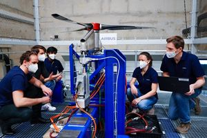 The E-Aircraft Systems' Vertical Test Bench enables Airbus engineers to test electric motors and propellers of helicopter-size vehicle configurations in a vertical position.