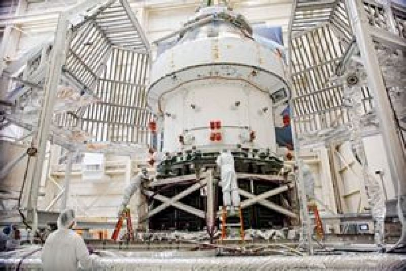 Orion Spacecraft For Artemis I Prepared For Thermal Test at NASA Plum Broke. NASA Photo.