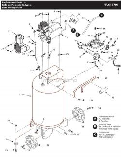 Campbell Hausfeld Parts WL611701 Air Compressor