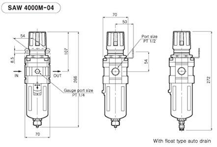 PneumaticPlus SAW4000M-N04BG Compressed Air Filter