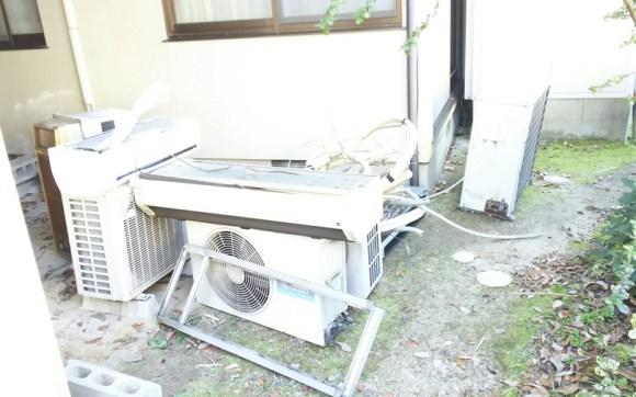 三世帯分のエアコン取外し回収