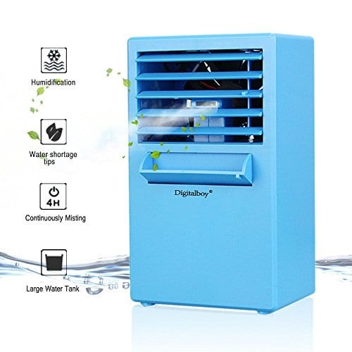 Digitalboy Portable Air Conditioner Fan 9.5 Inch Small Desktop Fan Personal  Misting Fan Mini Evaporative