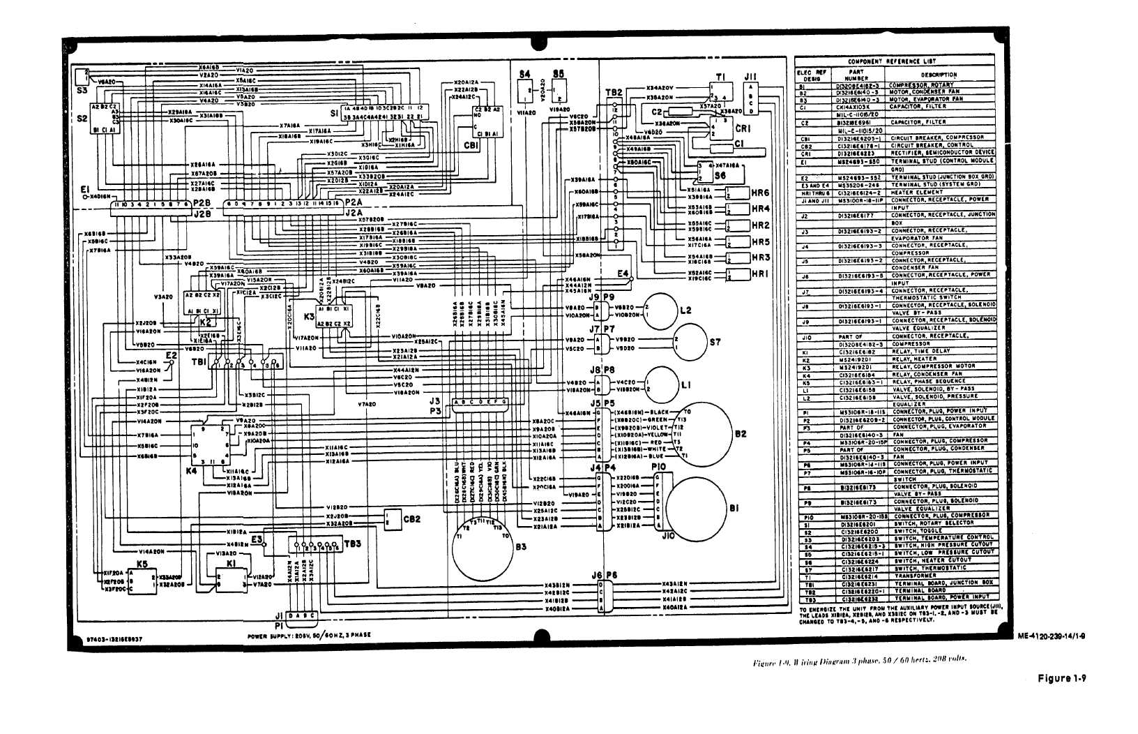 three phase wiring diagram motor bulldog security rs82 figure 1 9 3 50 60 hertz 208 volts