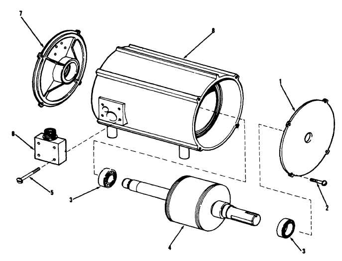 Figure 6-9. Condenser fan motor, exploded view.