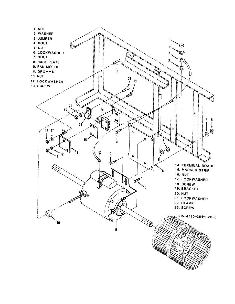 Figure 3-6. Evaporator fan section, fan motor and mountings