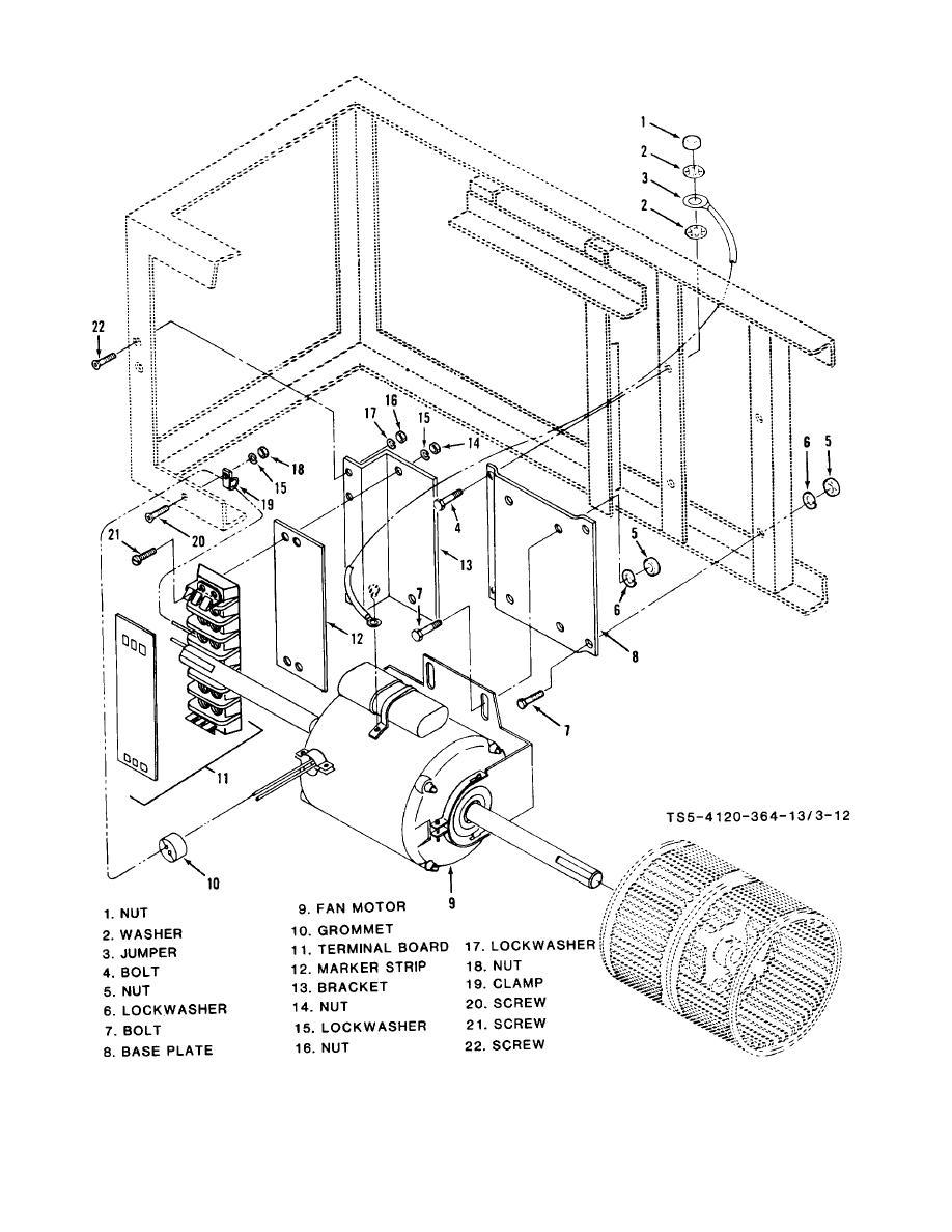 Figure 3-12. Condenser fan section, fan motor and mountings