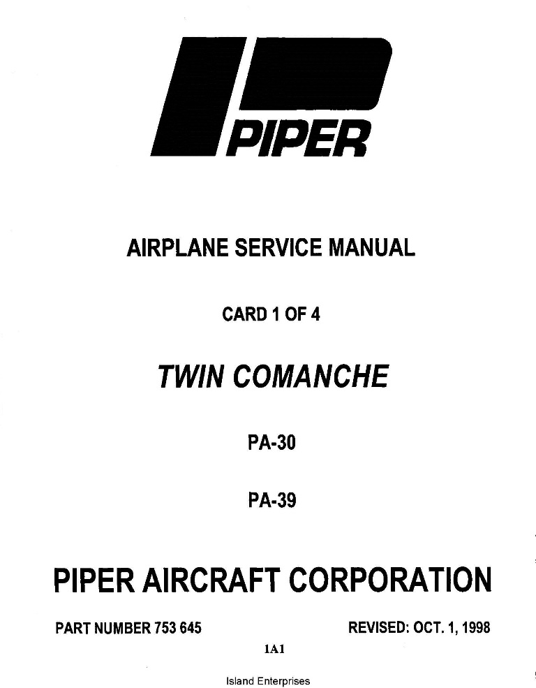 Piper Twin Comanche Service Manual PA-30/PA-39 Part # 753