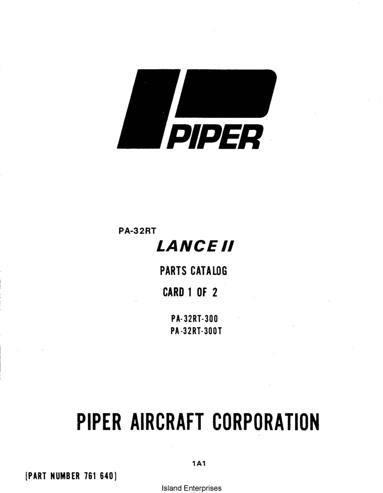 Piper Lance II Parts Catalog PA-32RT-300/300T Part # 761