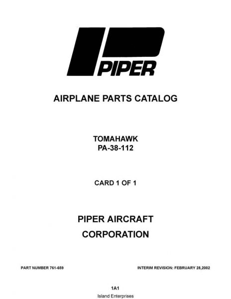 Piper Tomahawk Parts Catalog PA-38-112 Part # 761-659