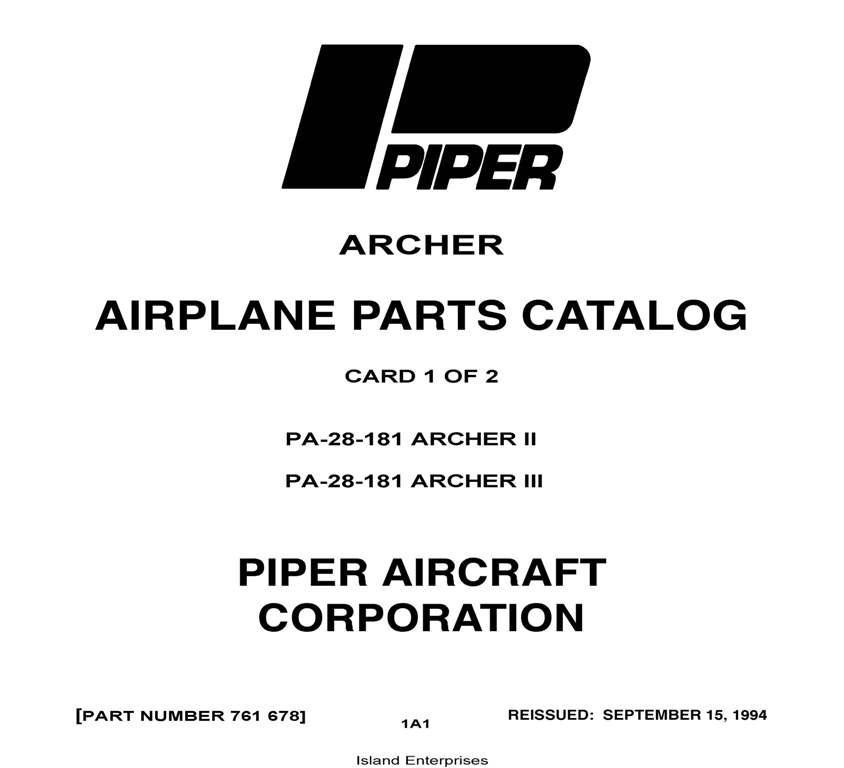 Piper Archer II & III Parts Catalog PA-28-181 Part # 761-678