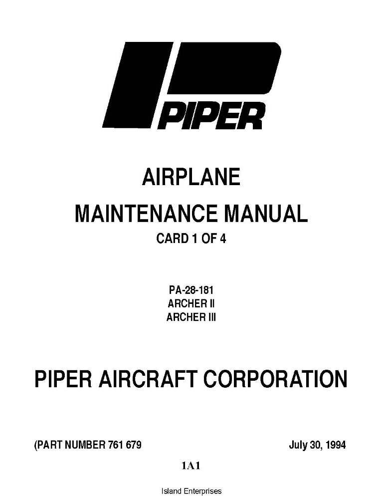 Piper Archer II & III Maintenance Manual PA-28-181 Part