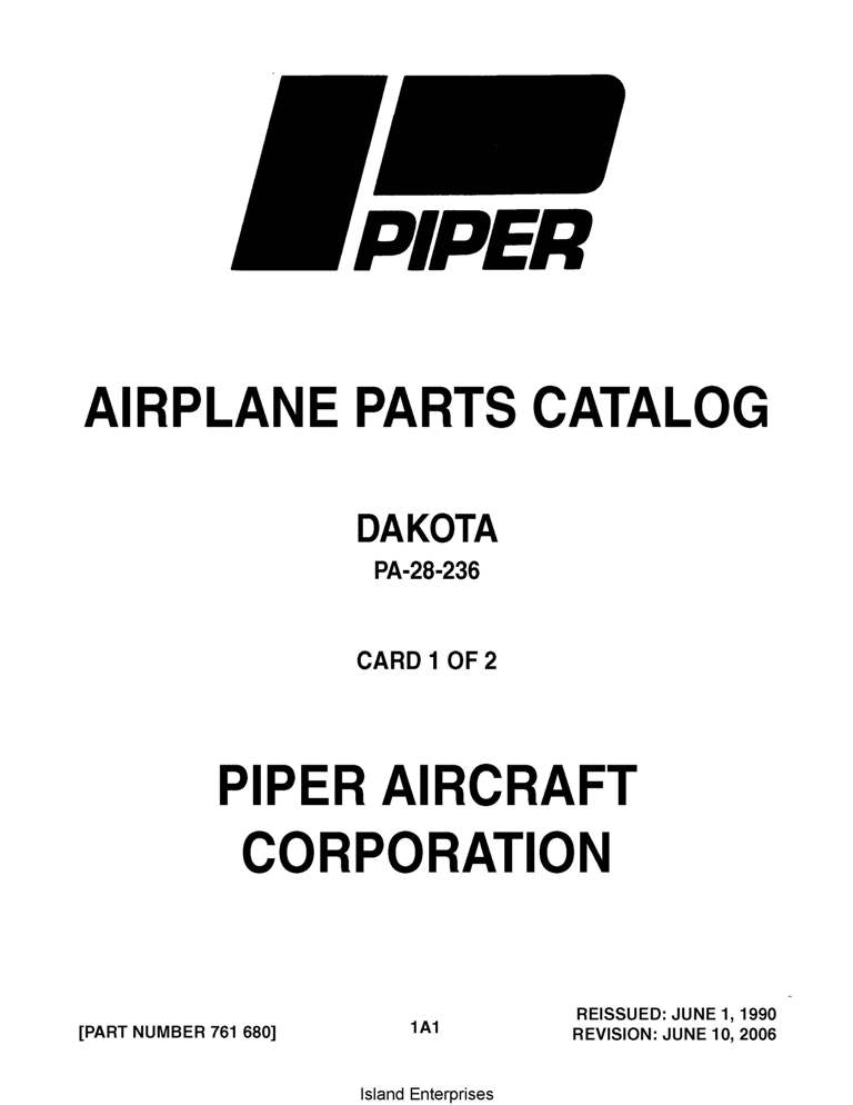 Piper Dakota Parts Catalog PA-28-236 Part # 761-680