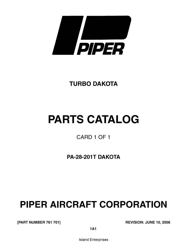 Piper Dakota Parts Catalog PA-28-201T Part # 761-701