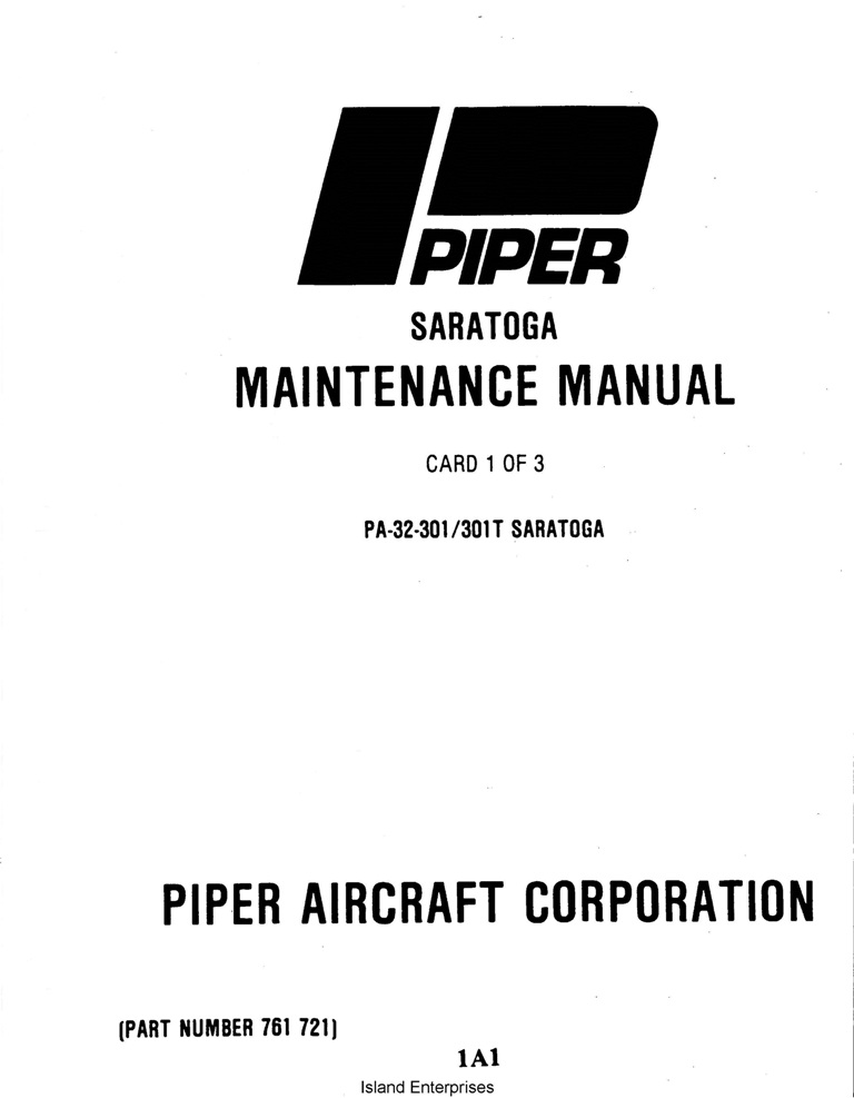 Piper Saratoga Maintenance Manual PA-32-301/301T Part