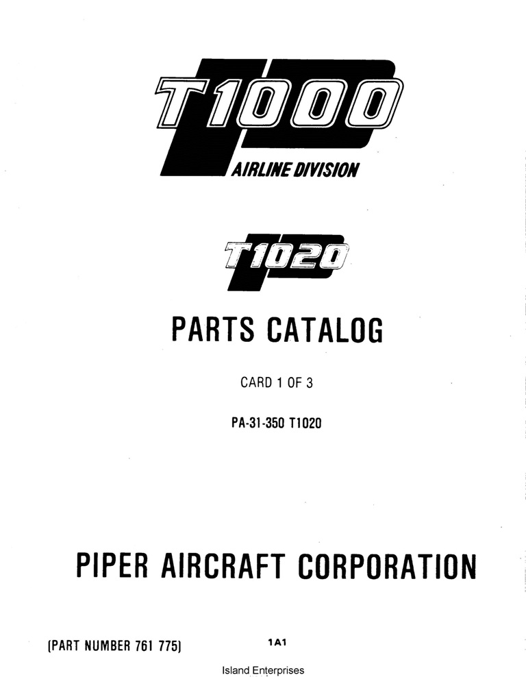 Piper Chieftain Parts Catalog PA-31-350 T1020 Part # 761-775