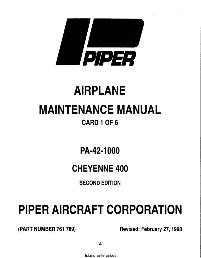 Piper Cheyenne 400 Maintenance Manual PA-42-1000 Part