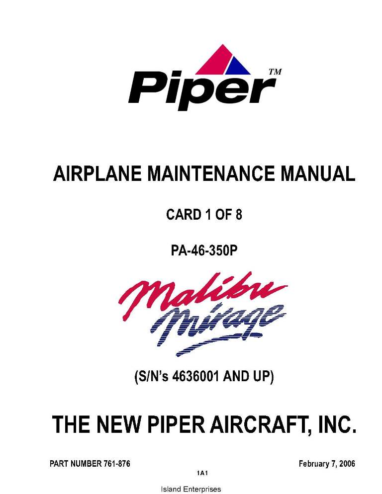 Piper Malibu Mirage Maintenance Manual PA-46-350P Part