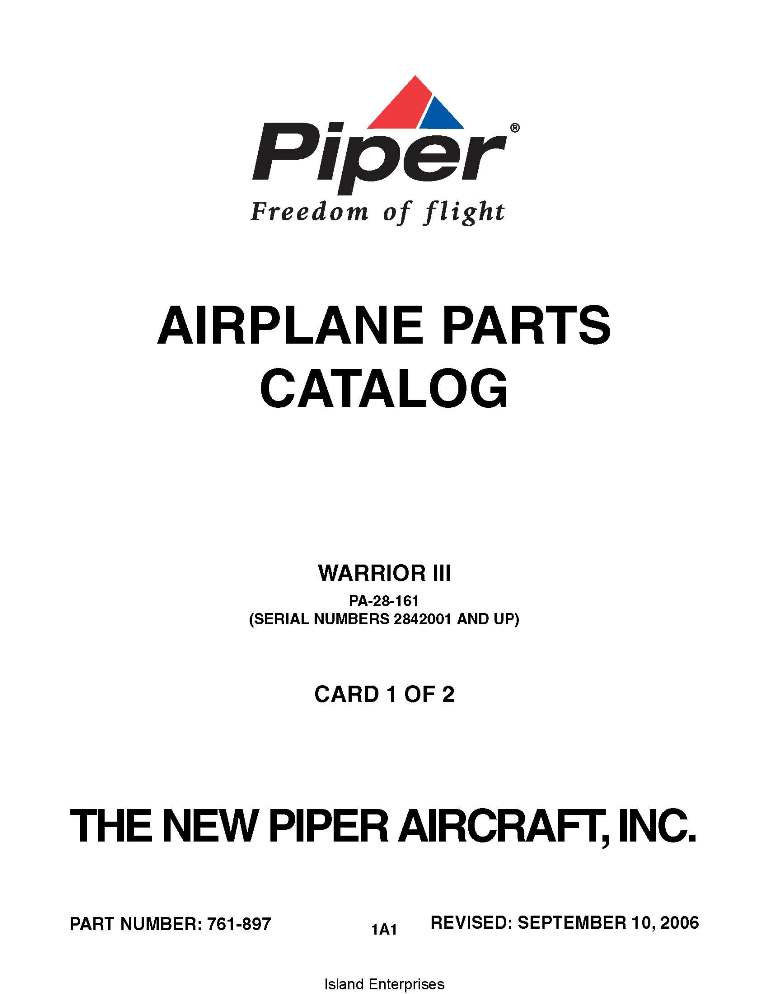Piper Warrior III Parts Catalog PA-28-161 Part # 761-897