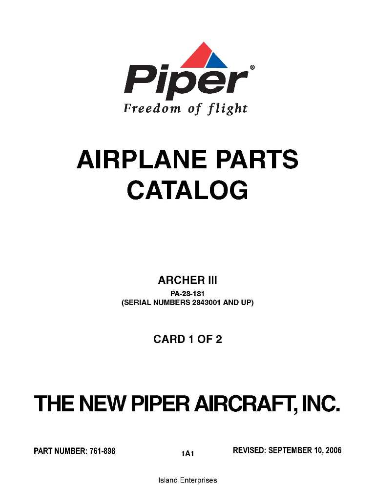 Piper Archer III Parts Catalog PA-28-181 Part # 761-898