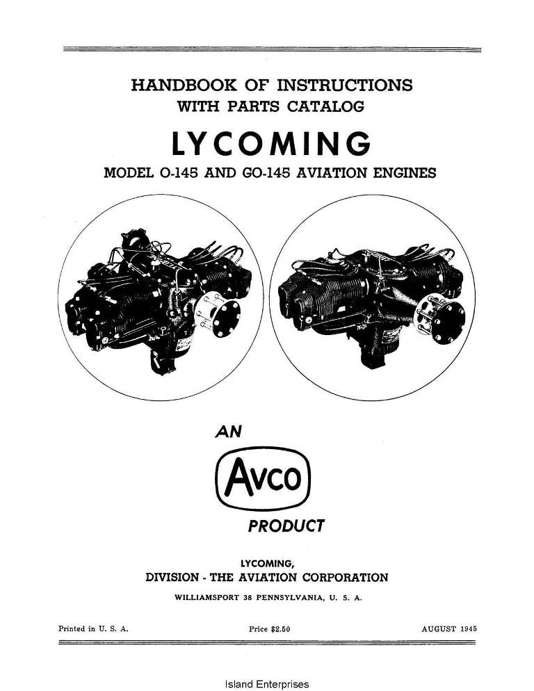 Lycoming Parts/Overhaul/Operators O-145 & GO-145 $13.95