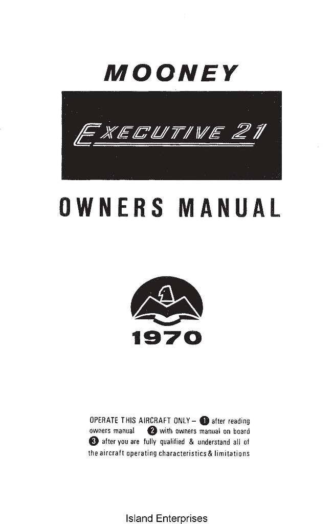 Mooney M20F Executive 21 Owner's Manual 1970