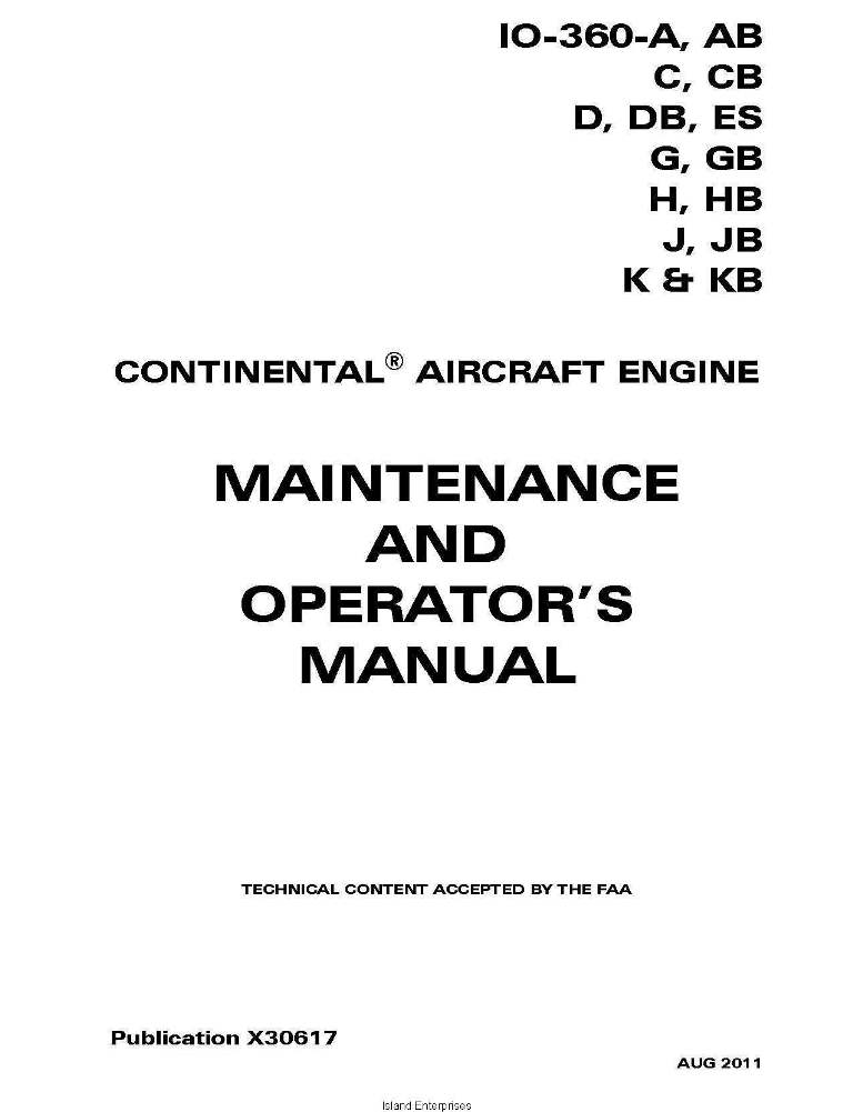 Continental Maintenance and Operators Manual IO-360 X30617