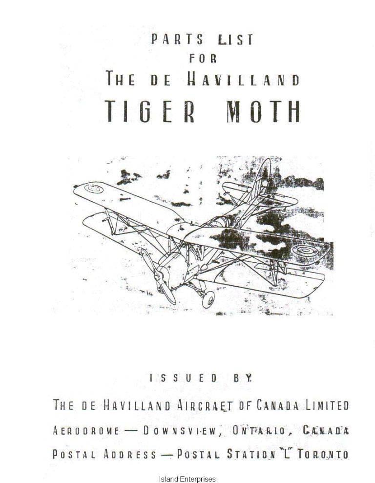 De Havilland Tiger Moth & Menasco Moth 82C and 82C2 Parts List