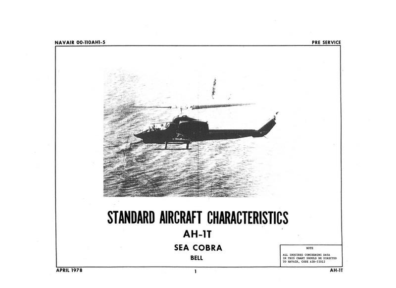 Bell AH-1T Sea Cobra Standard Aircraft Characteristics 1978
