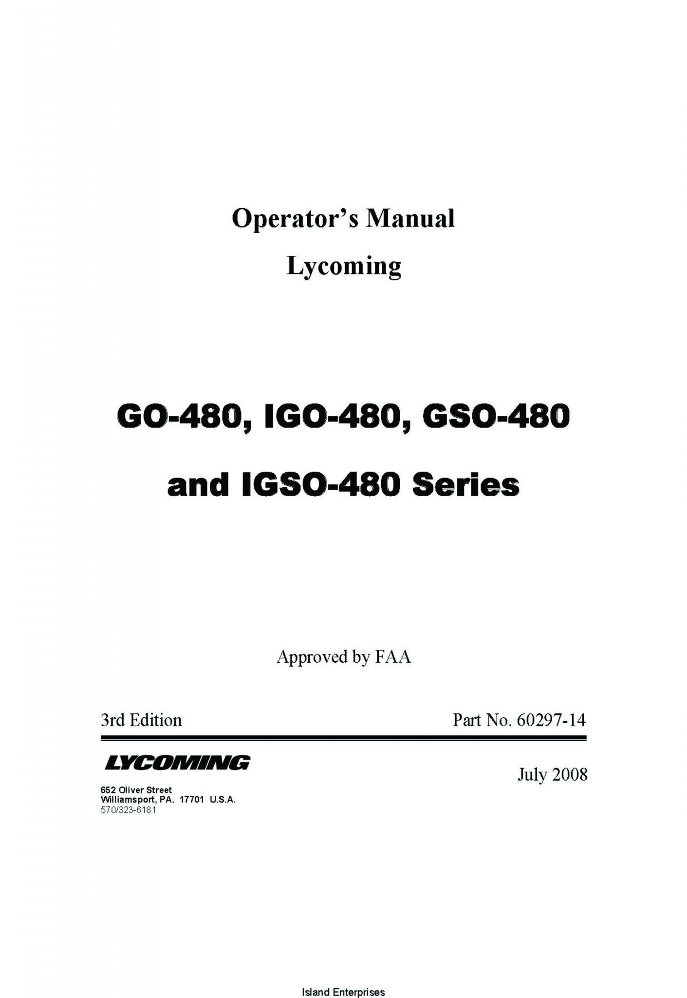 Lycoming GO-480, IGO-480, GSO-480 nad IGSO-480 Series