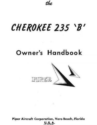 Piper Cherokee 235 B Owner's Handbook Part # 753-729