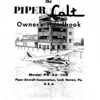 Piper Tri-Pacer PA-22 Airplane Owners Handbook Operation