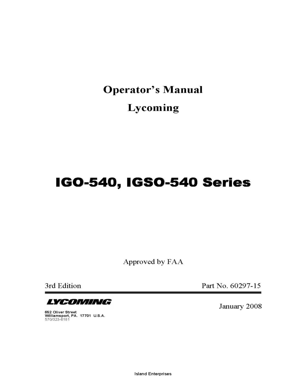 Lycoming IGO-540, IGSO-540 Series Operator's Manual 60297