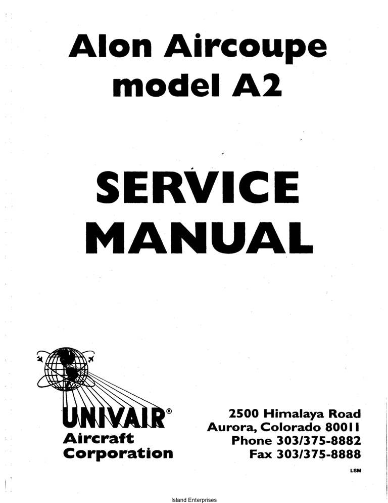 Alon Aircoupe Model A2 Service Manual