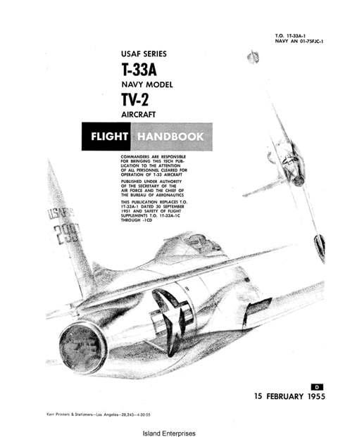 Lockheed T-33A and TV-2 Aircraft Flight Handbook 1955