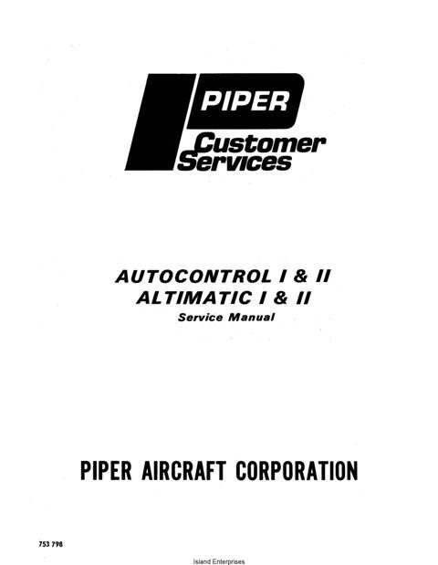 Piper Autocontrol I & II Altimatic I & II Service Manual