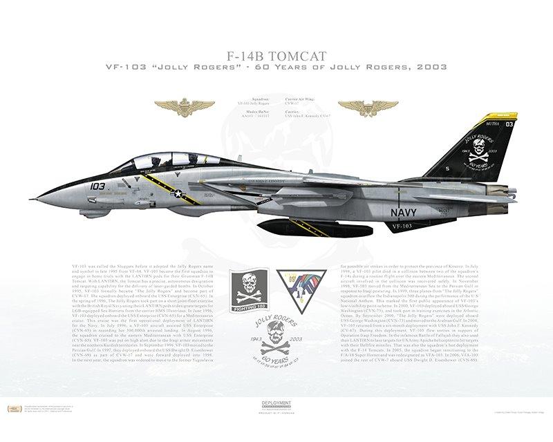 Aircraft profile print of F-14B Tomcat VF-103 Jolly Rogers