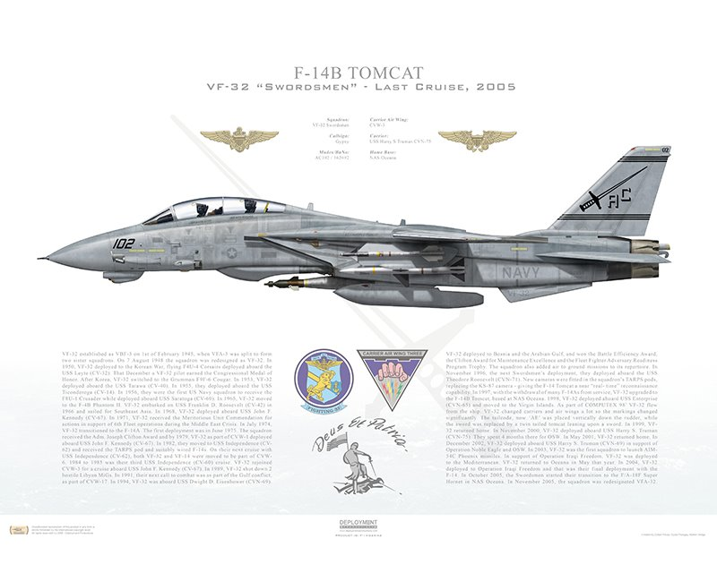 Aircraft profile print of F-14B Tomcat VF-32 Swordsmen