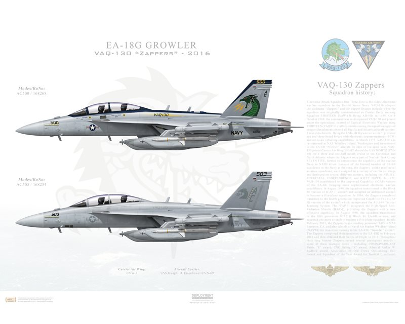Aircraft profile print of EA-18G Growler VAQ-130 Zappers