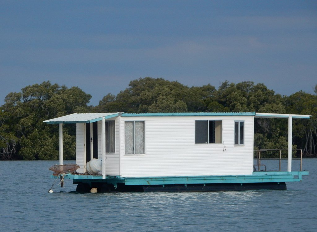 house boat on the water