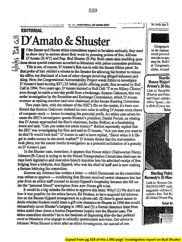 20001016..'D'AMato & Shuster', exhibit from 'Committee Report on investigation of Congressman Bud Shuster' (p.529 of 1,092pgs)