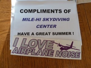 20120504.. Poster & 'I Love Airplane Noise' bumpersticker, [Mile-Hi]