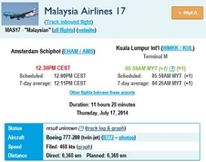 20140717.. MH17 route, FlightAware flight info view