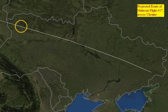 20140717.. MH17 route, sat.view of Ukraine, showing FlightAware route projection