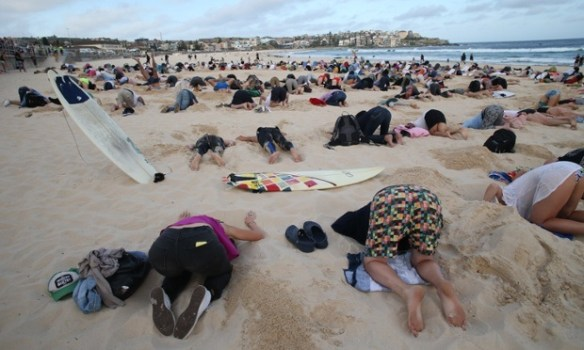 20141113cpy.. 400 burying heads in sand at Bondi Beach