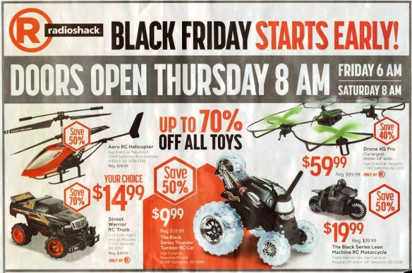 20141125.. RadioShack ad, RC quadcopter and helo