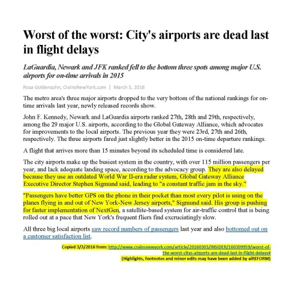 20150303.. 'Worst of the worst - City's airports are dead last in flight delays' (R.Goldensohn, CrainsNewYork.com, 1p)